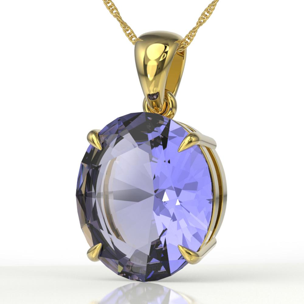9 ctw Tanzanite Designer Solitaire Necklace 18k Yellow Gold - REF-336G4W