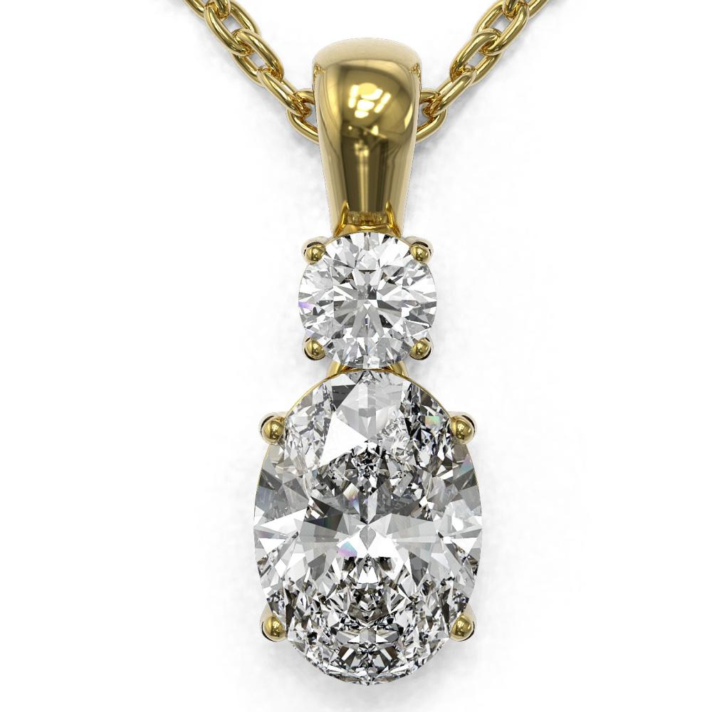 0.9 ctw Oval Cut Diamond Designer Necklace 18K Yellow Gold - REF-139M2G