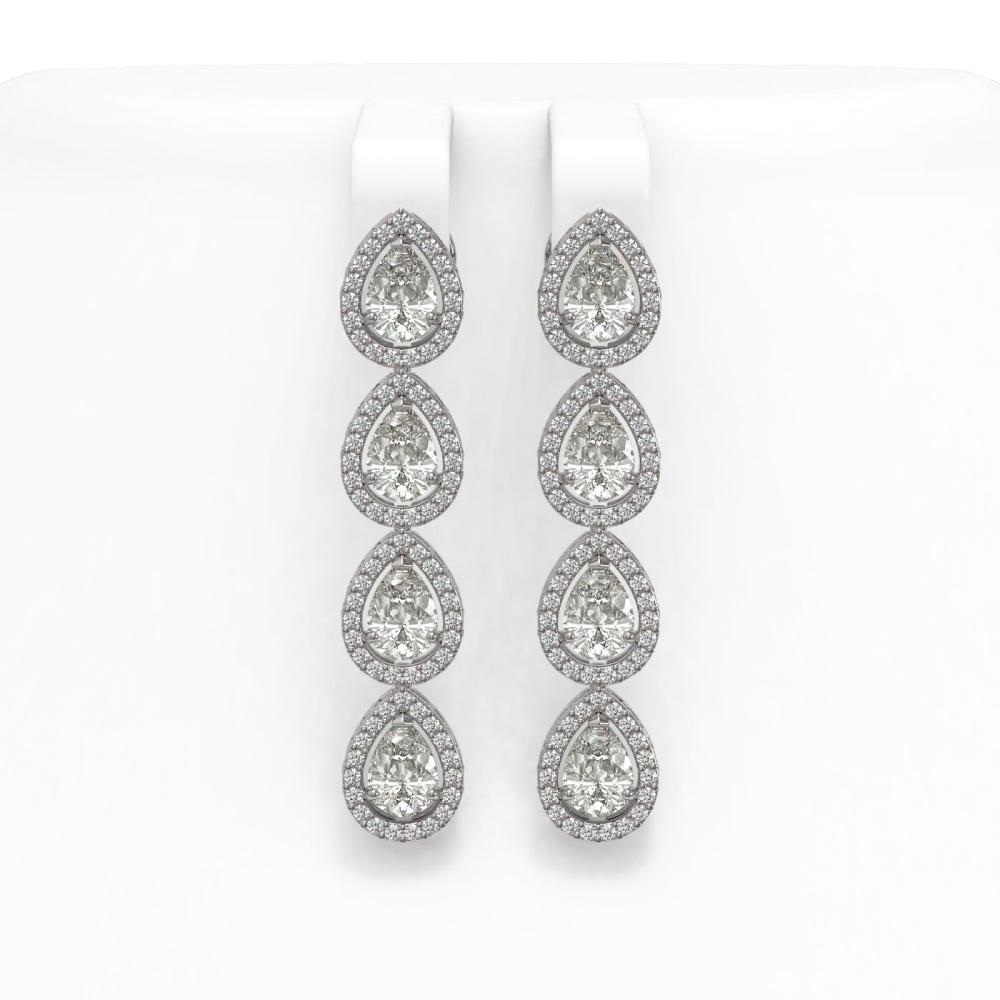 5.22 ctw Pear Cut Diamond Micro Pave Earrings 18K White Gold - REF-727F2M