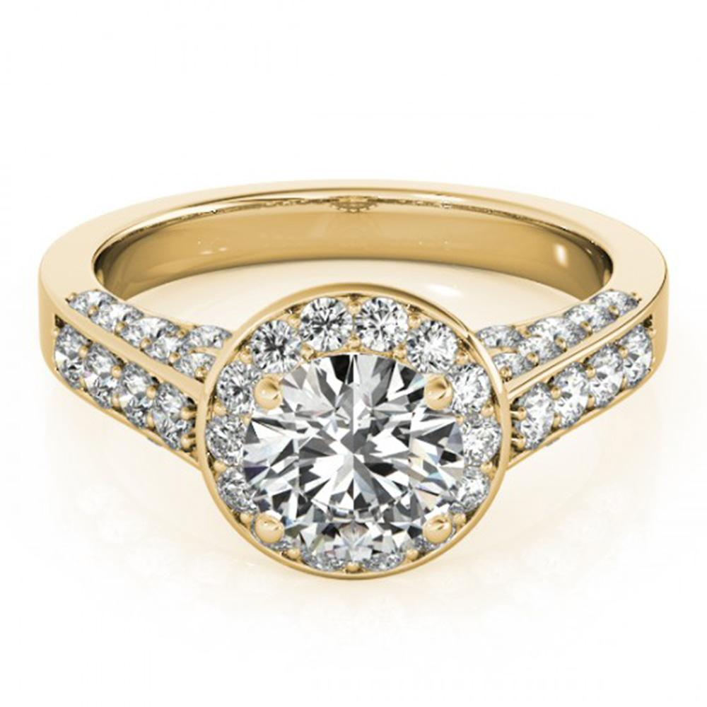 1.8 ctw Certified VS/SI Diamond Halo Ring 14k Yellow Gold - REF-298M8G