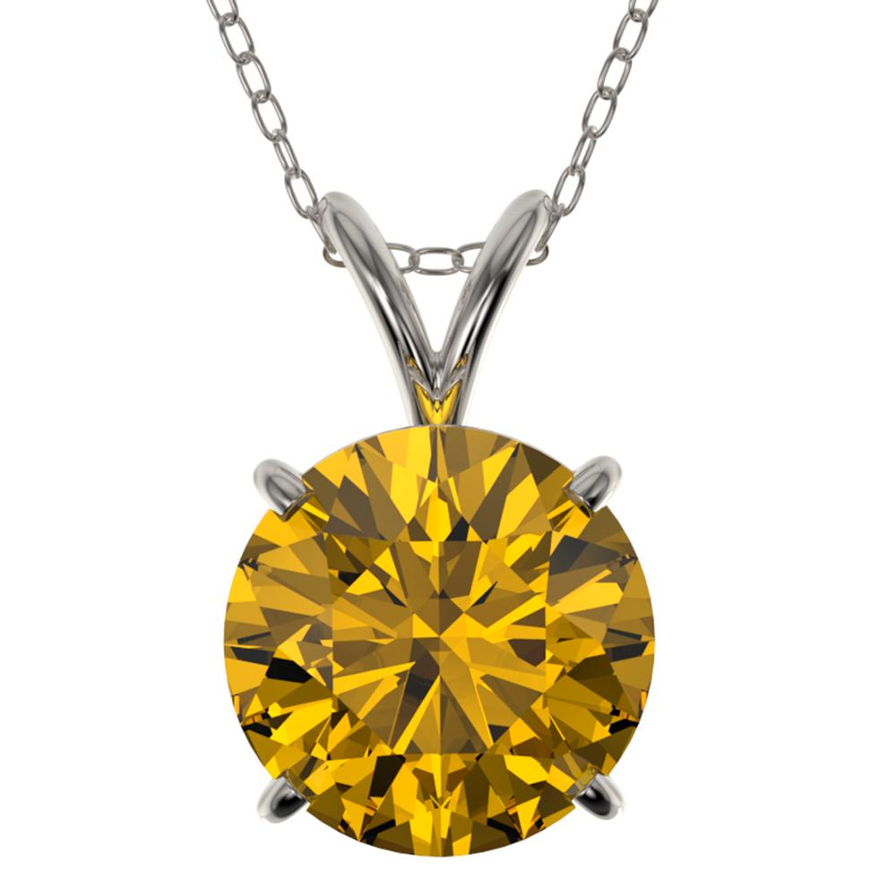 2.03 ctw Certified Intense Yellow Diamond Necklace 10k White Gold - REF-392A8N