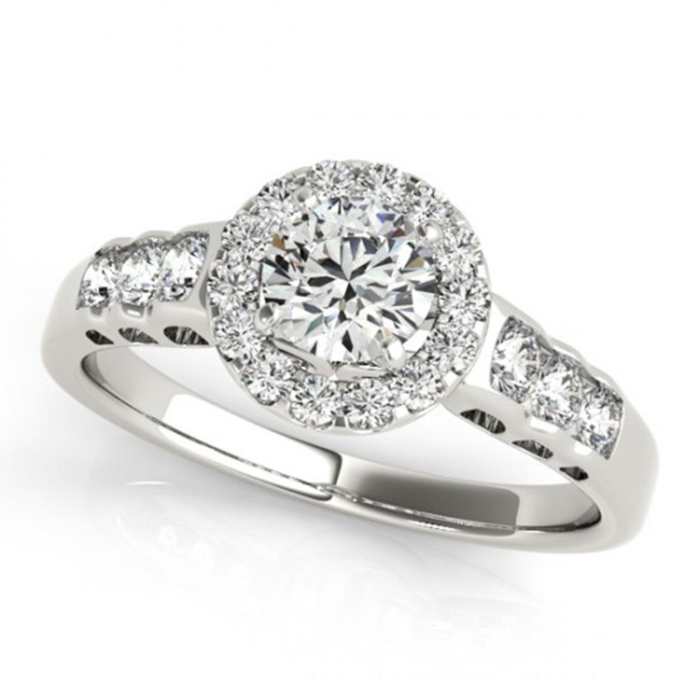 1.3 ctw Certified VS/SI Diamond Solitaire Halo Ring 14k White Gold - REF-163H6R