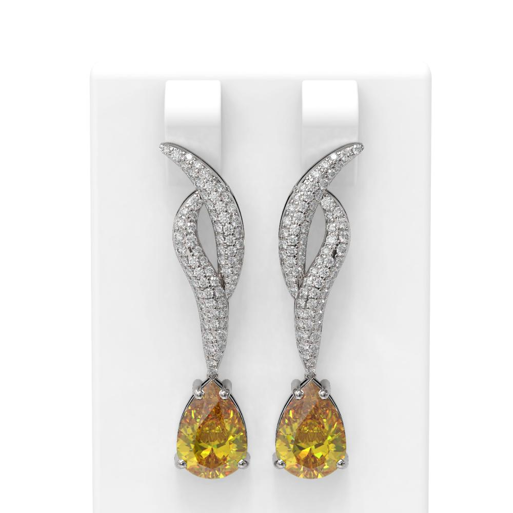 5.27 ctw Canary Citrine & Diamond Earrings 18K White Gold - REF-147H5R
