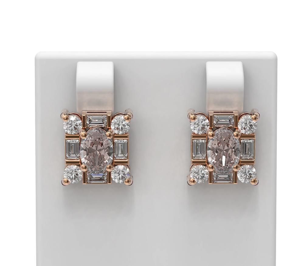 3.5 ctw Morganite & Diamond Earrings 18K Rose Gold - REF-178K2Y
