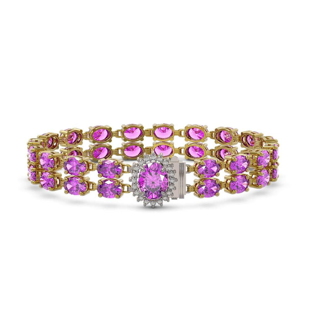 14.1 ctw Amethyst & Diamond Bracelet 14K Yellow Gold - REF-209G3W