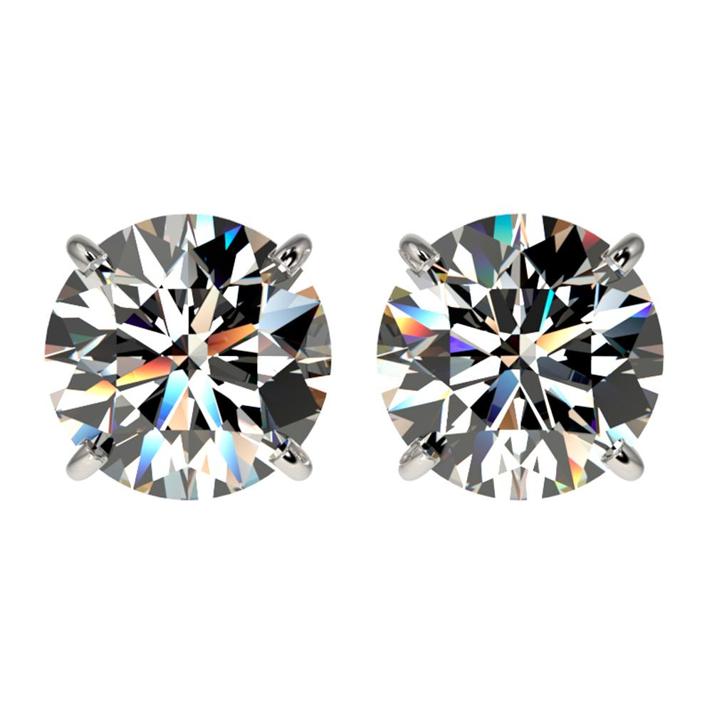 2.57 ctw Certified Quality Diamond Stud Earrings 10k White Gold - REF-303Y2X