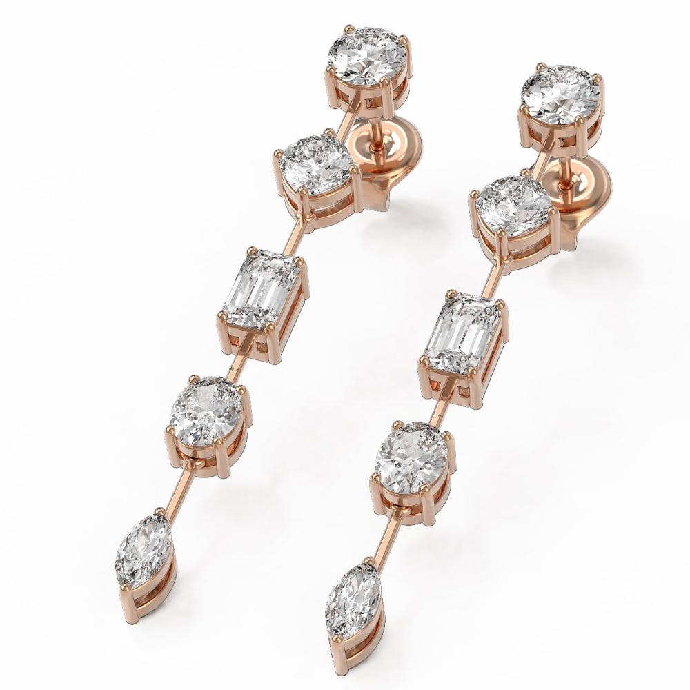 2.8 ctw Mix cut Diamonds Designer Earrings 18K Rose Gold - REF-340A9N