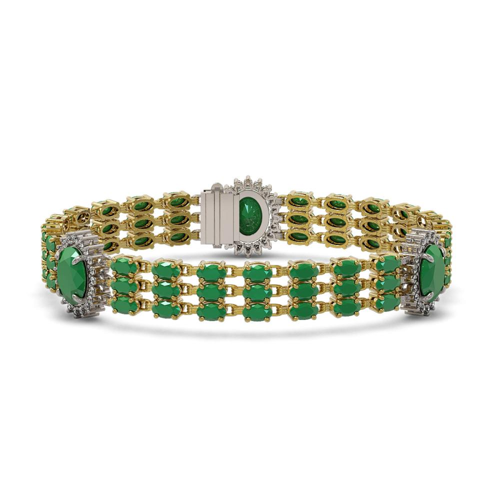 32.98 ctw Emerald & Diamond Bracelet 14K Yellow Gold - REF-300K4Y