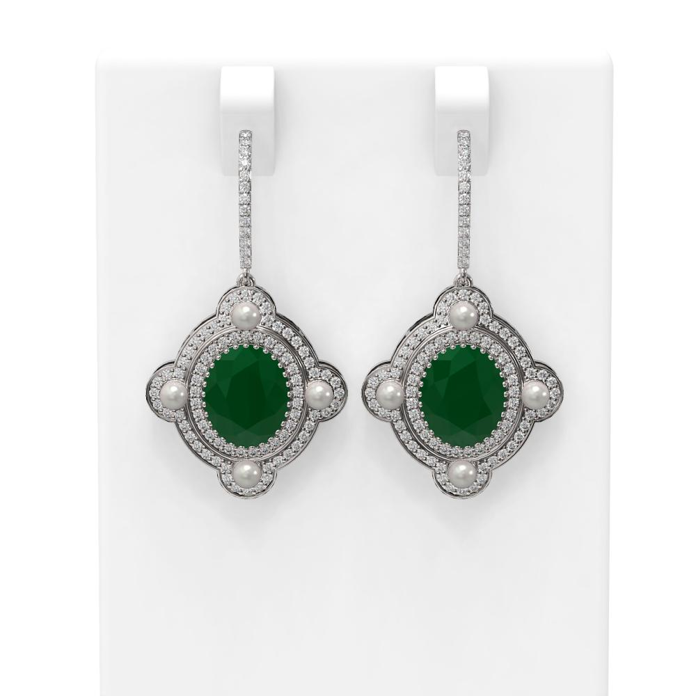9.96 ctw Emerald & Diamond Earrings 18K White Gold - REF-336H4R