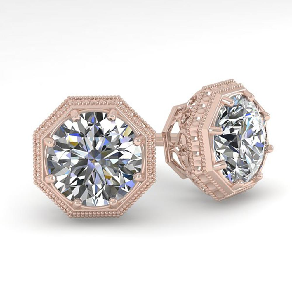 1.0 ctw VS/SI Diamond Stud Earrings Art Deco 14k Rose Gold - REF-209M3G