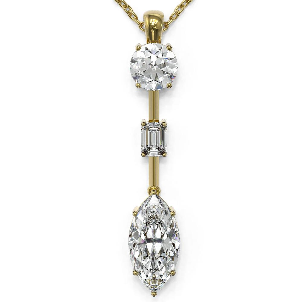 2.5 ctw Marquise Cut Diamond Designer Necklace 18K Yellow Gold - REF-666M2G