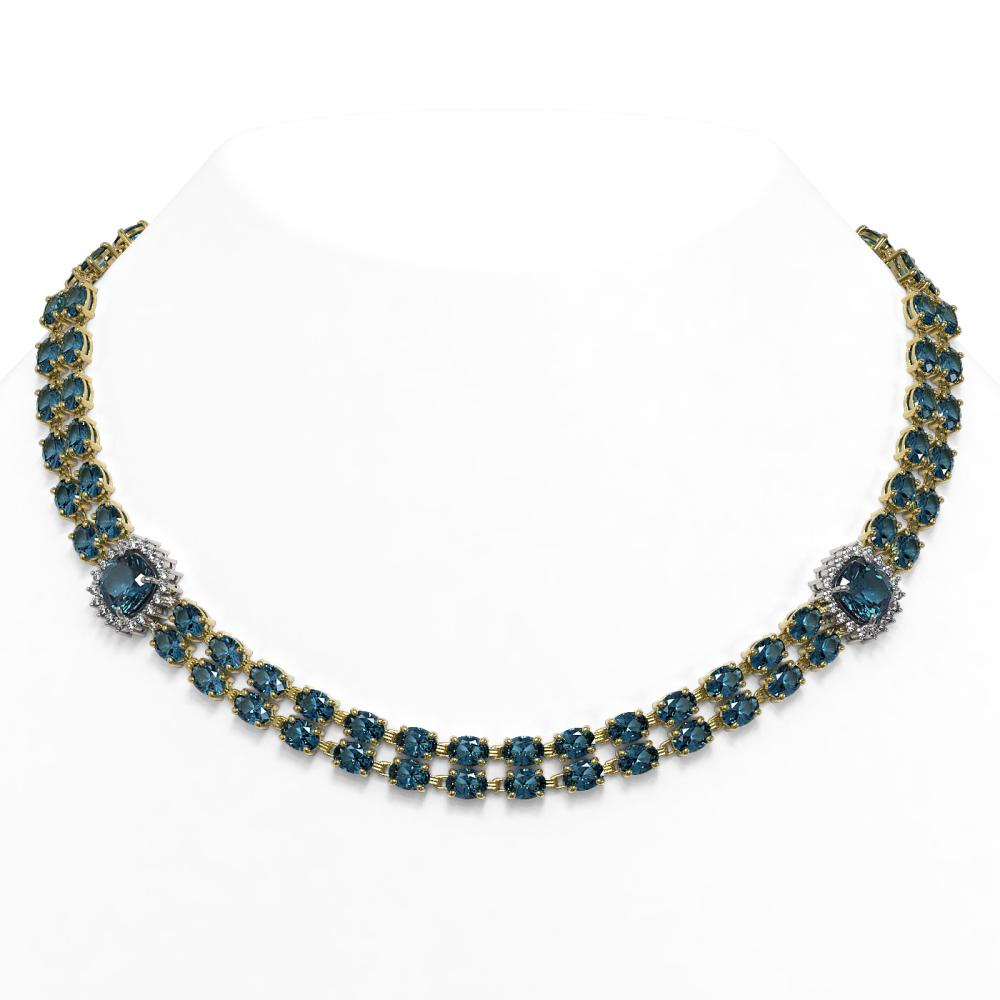 39.55 ctw London Topaz & Diamond Necklace 14K Yellow Gold - REF-527M3G
