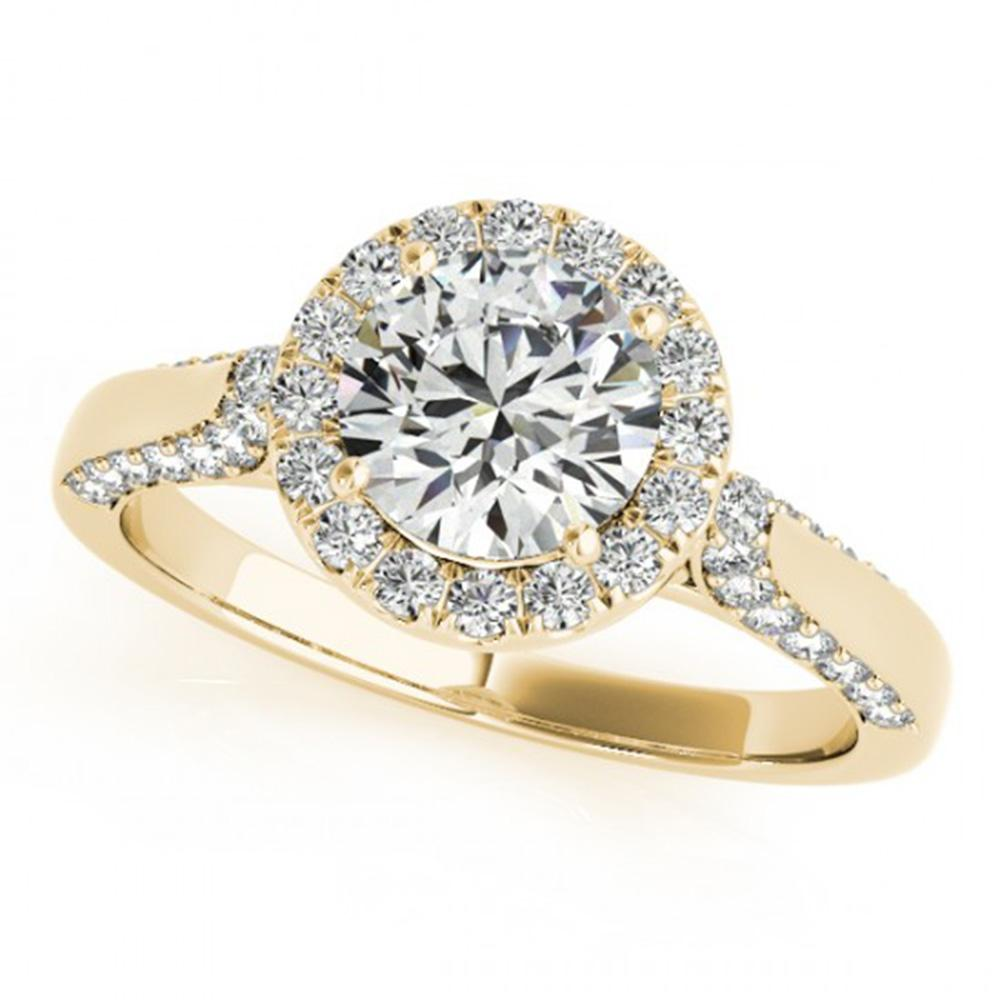 1.25 ctw Certified VS/SI Diamond Solitaire Halo Ring 14k Yellow Gold - REF-151N6F