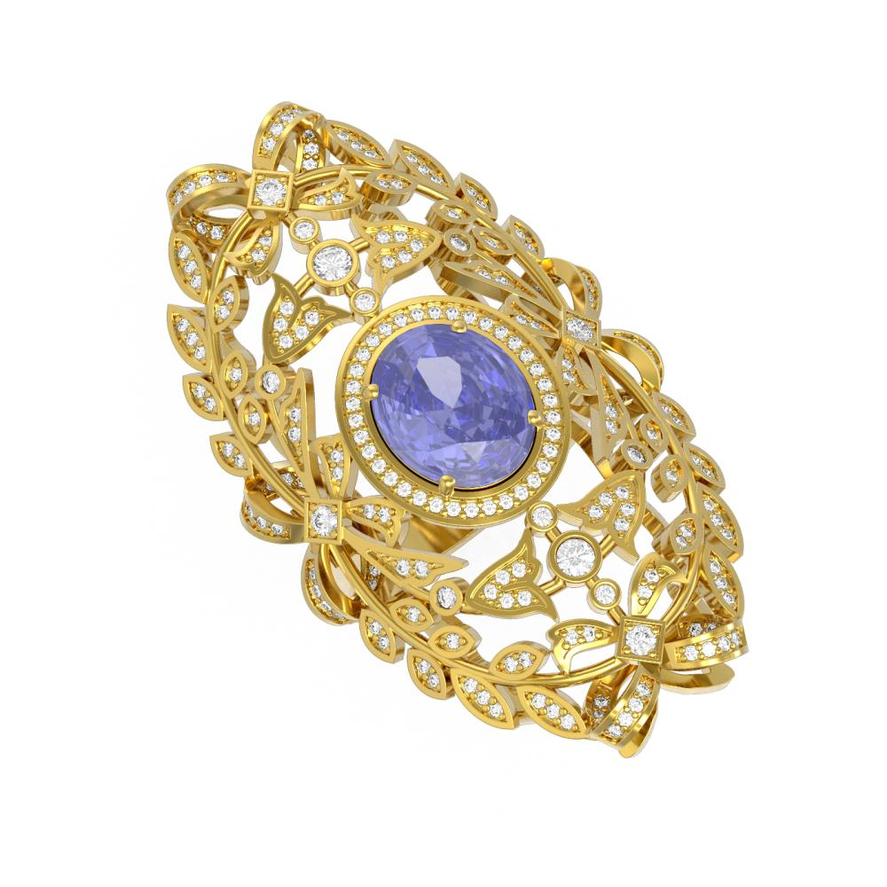 7.07 ctw Tanzanite & Diamond Ring 18K Yellow Gold - REF-490H9R