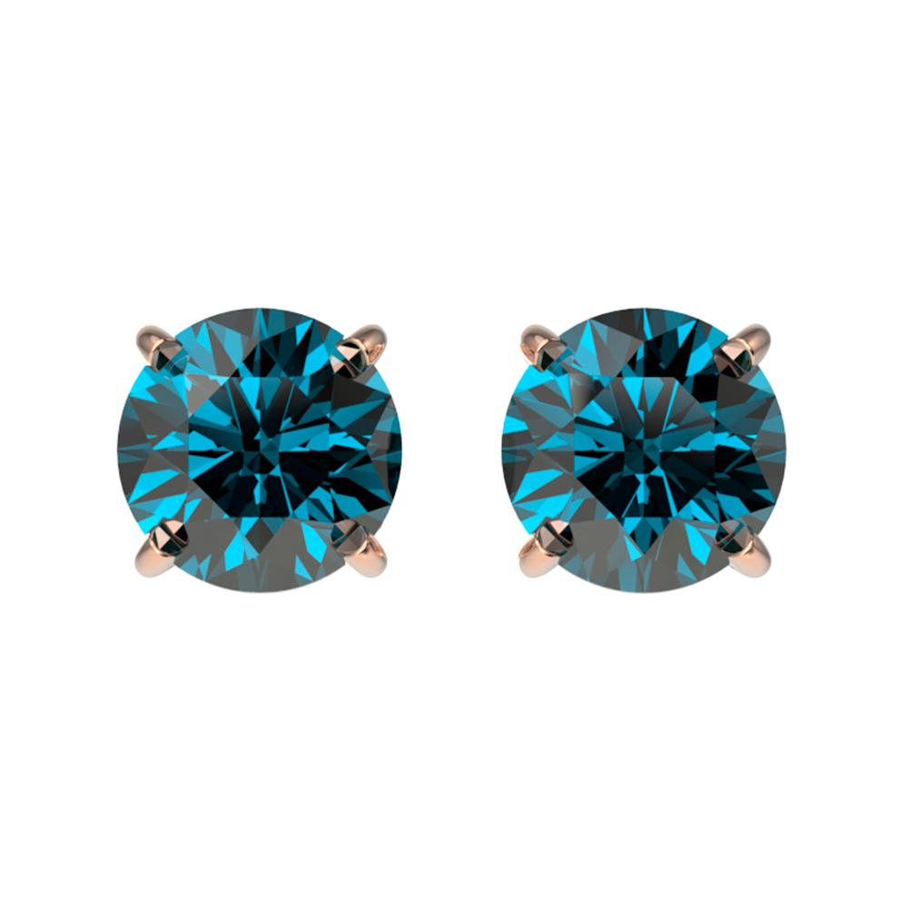 1.08 ctw Certified Intense Blue Diamond Stud Earrings 10k Rose Gold - REF-71Y2X