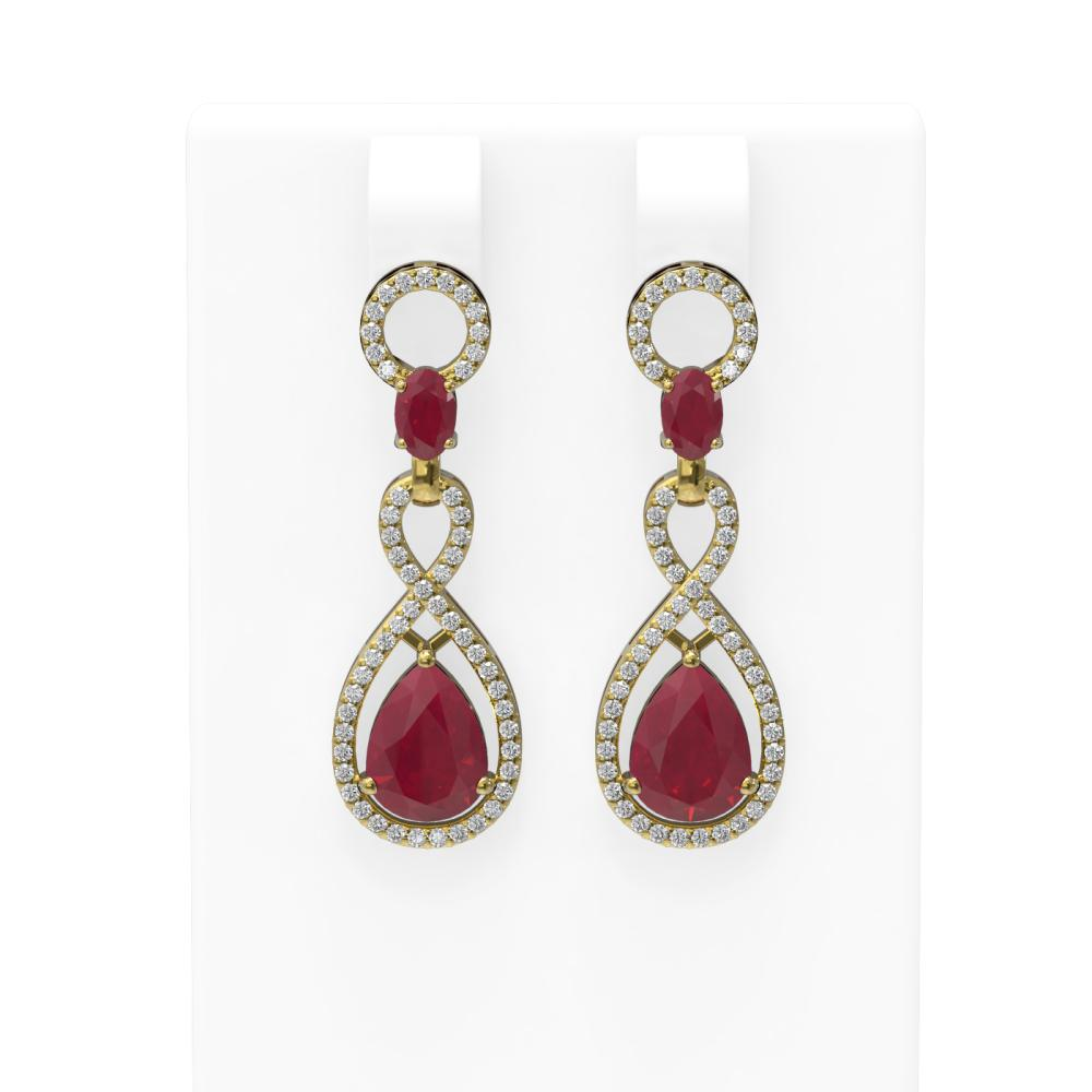 9.85 ctw Ruby & Diamond Earrings 18K Yellow Gold - REF-263X6A