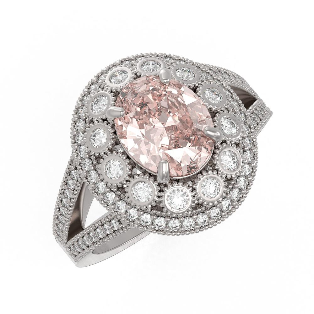 3.95 ctw Certified Morganite & Diamond Victorian Ring 14K White Gold - REF-176F8M
