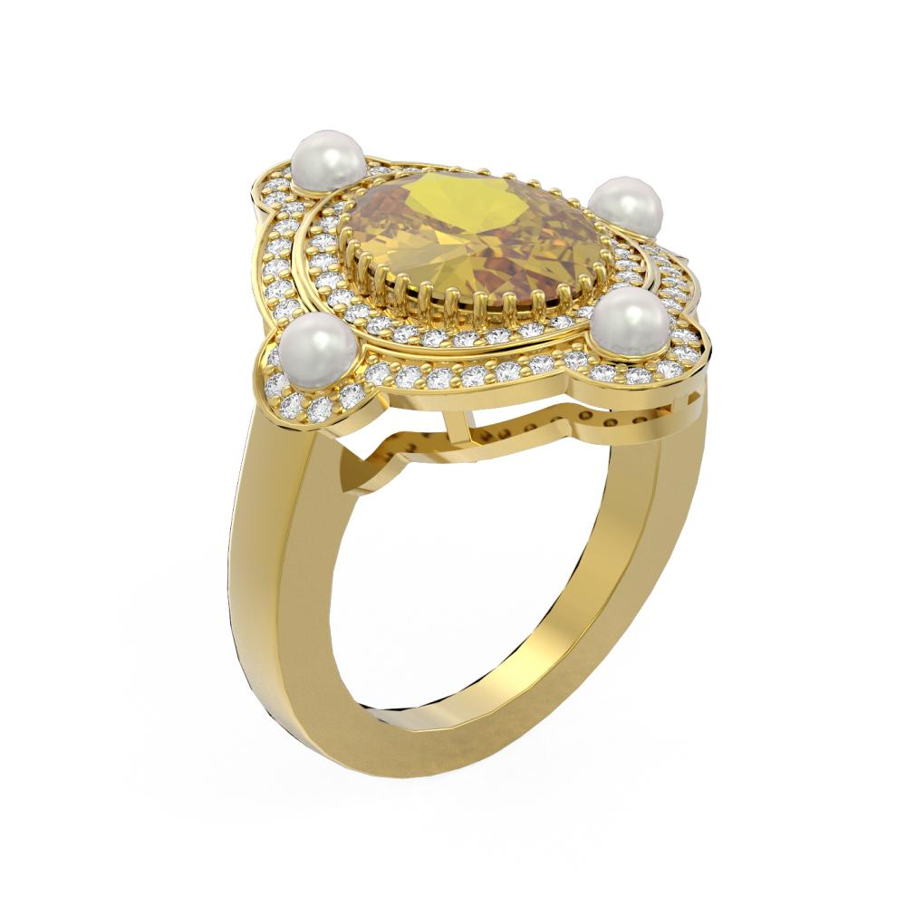 4.18 ctw Canary Citrine & Diamond Ring 18K Yellow Gold - REF-161N8F