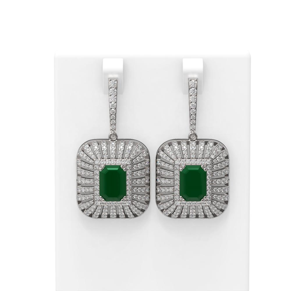 16.73 ctw Emerald & Diamond Earrings 18K White Gold - REF-600Y2X