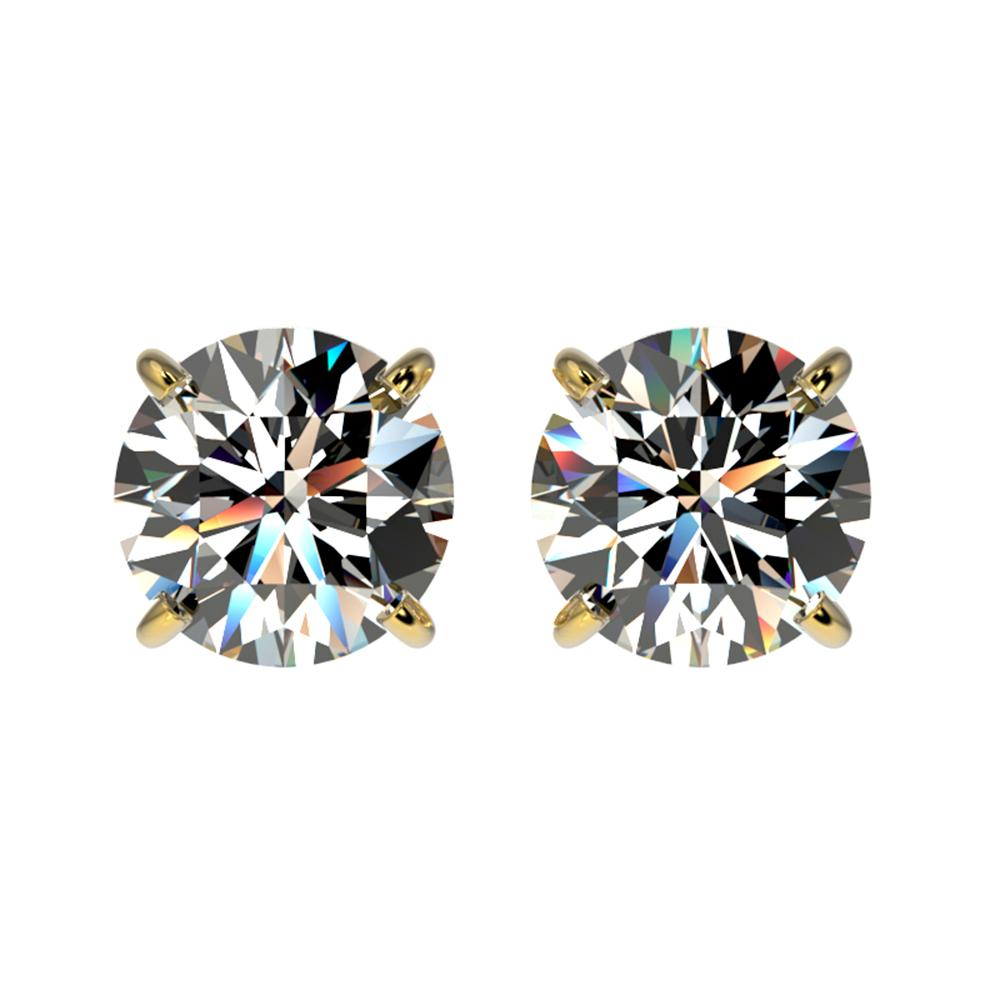 1.52 ctw Certified Quality Diamond Stud Earrings 10k Yellow Gold - REF-127M5G