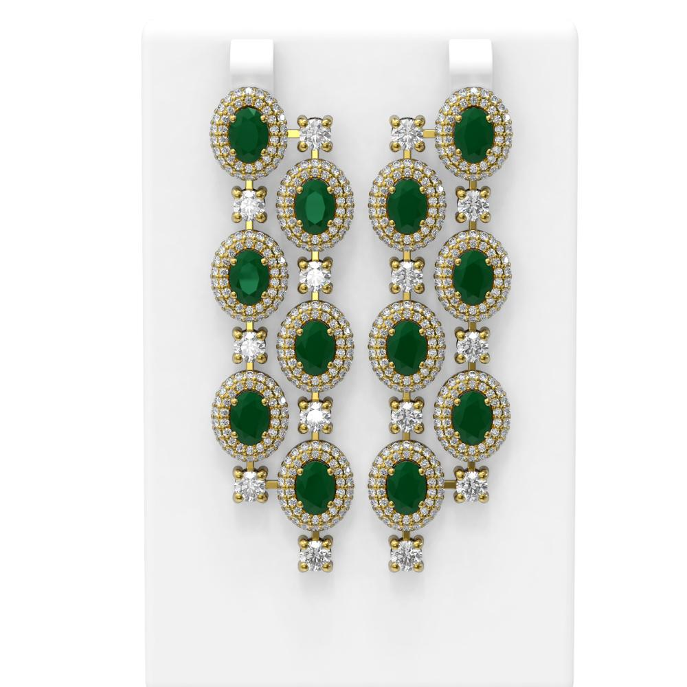21.48 ctw Emerald & Diamond Earrings 18K Yellow Gold - REF-889W3H