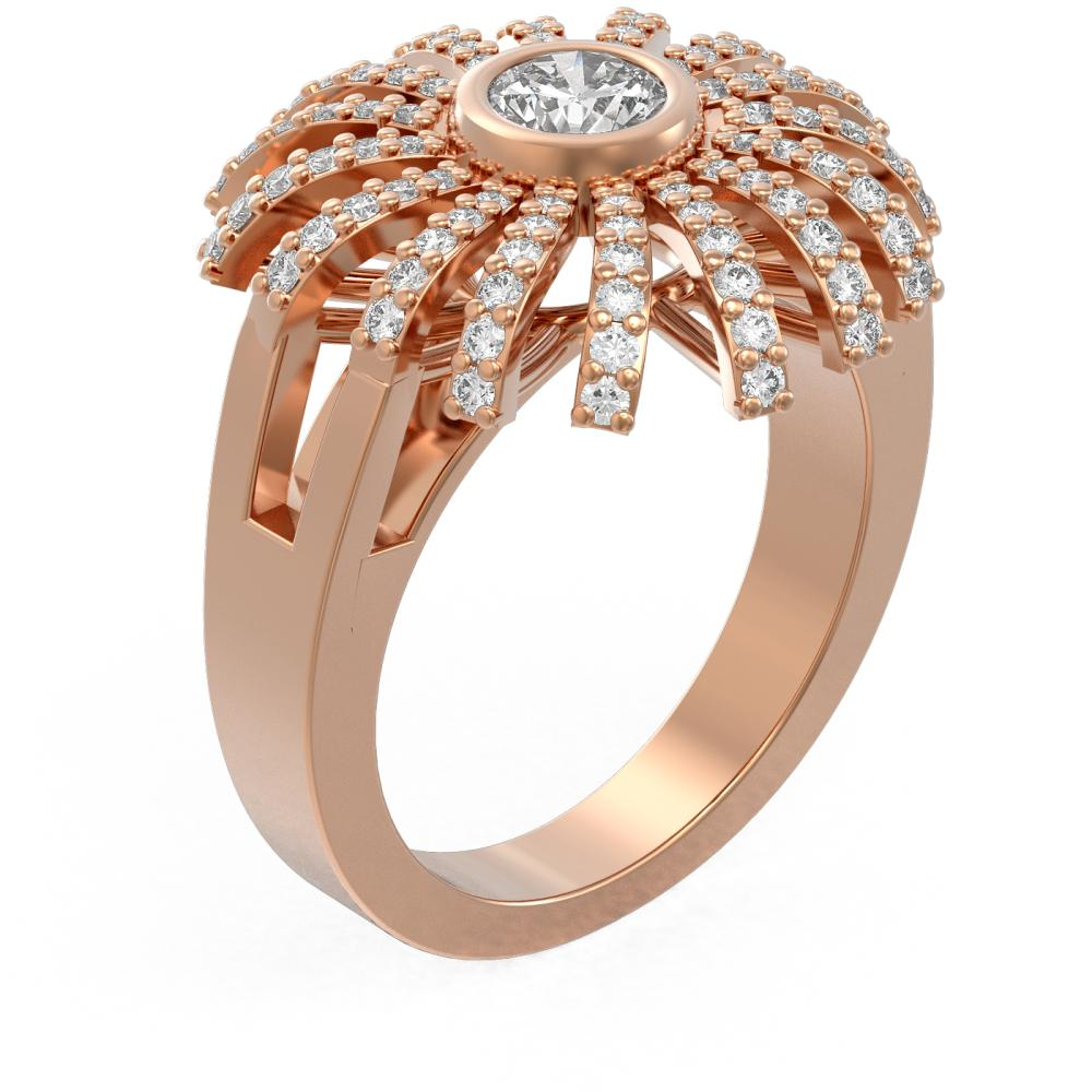 1.5 ctw Diamond Ring 18K Rose Gold - REF-250K2Y