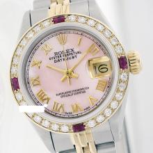 Rolex Men's 2Tone 14K Gold/ SS, QuickSet, Roman Dial Diam/Ruby Bezel - REF#436K4A