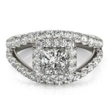 1.85 CTW Certified VS/SI Princess Diamond Solitaire Halo Ring 14K Gold - 25043-REF-268F2X