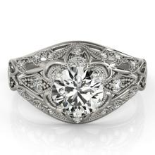 1.36 CTW Certified VS/SI Diamond Solitaire Antique Ring 14K White Gold - 25187-REF-368V5F