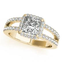 1.26 CTW Certified VS/SI Princess Diamond Solitaire Halo Ring 14K Gold - 24985-REF-226W2M