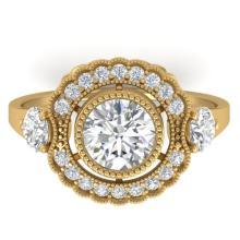 1.9 CTW Certified VS/SI Diamond Art Deco 3 Stone Ring 18K Gold - 32806-REF-430Z9K