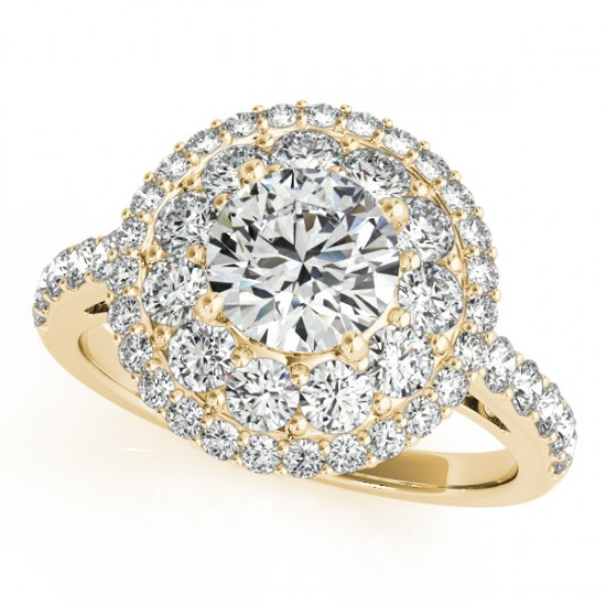 1.5 CTW Certified VS/SI Diamond Solitaire Halo Ring 14K Yellow Gold - REF-161M6F - 24341