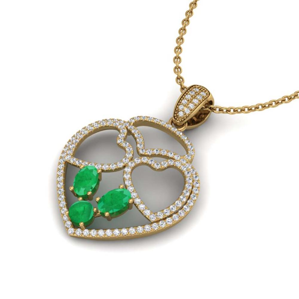 3 ctw Emerald & Heart Necklace 14K Yellow Gold - REF-134V5Y - SKU:22540
