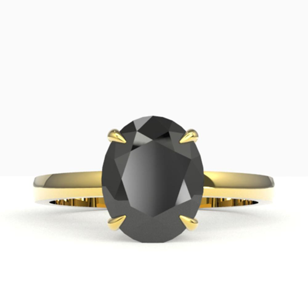 5 ctw Black VS/SI Diamond Ring 18K Yellow Gold - REF-161R8K - SKU:22056