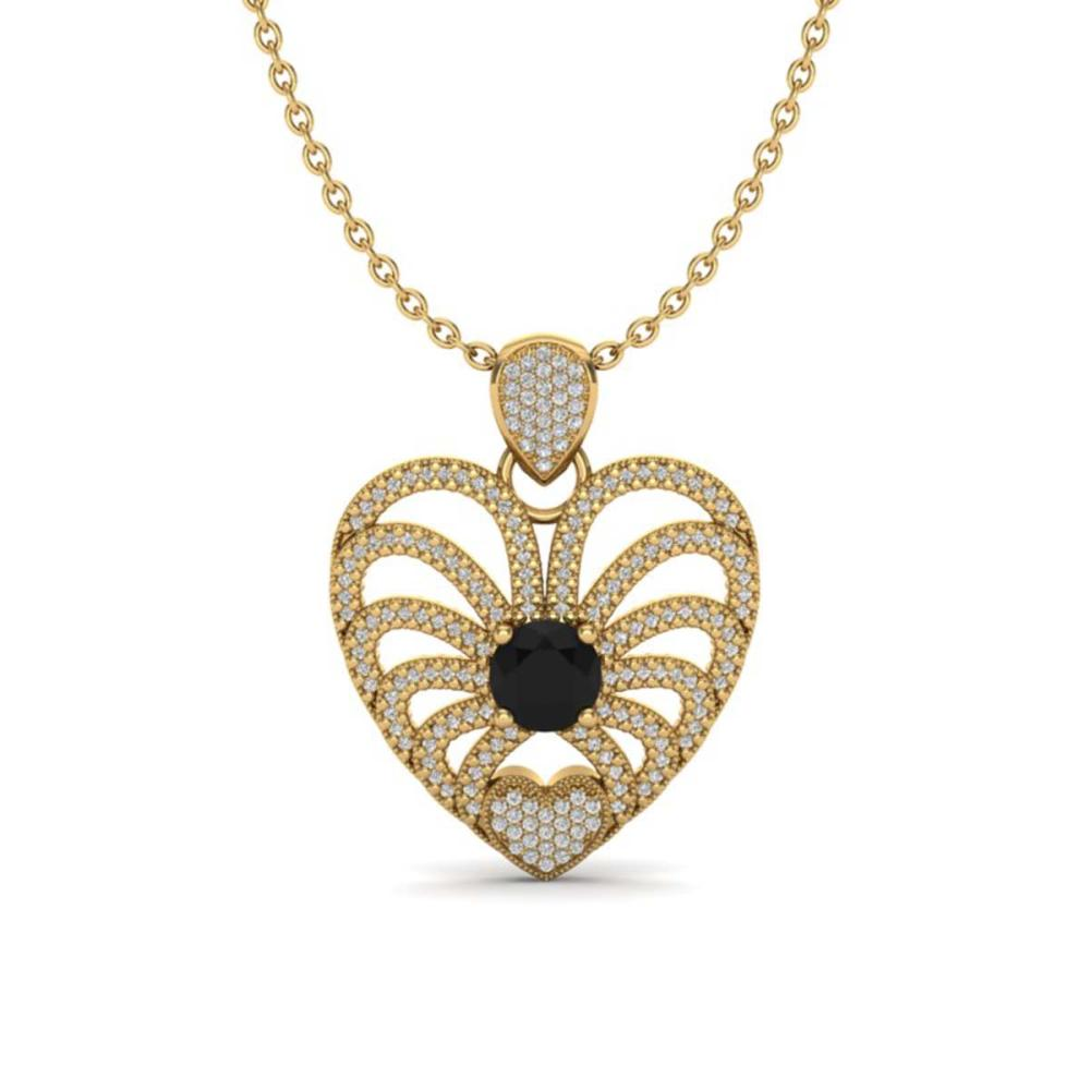 3.50 ctw Black & White Diamond Heart Necklace 14K Yellow Gold - REF-173V6Y - SKU:20500