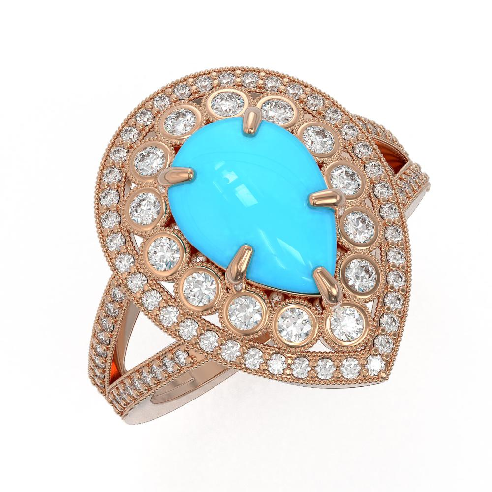 4.02 ctw Turquoise & Diamond Ring 14K Rose Gold - REF-134N4A - SKU:46141