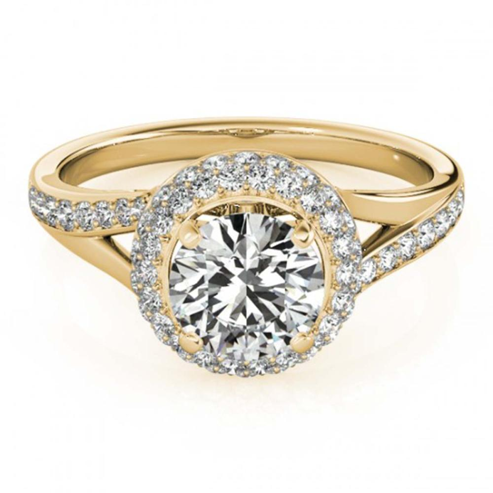 1.35 ctw VS/SI Diamond Solitaire Halo Ring 14K Yellow Gold - REF-149Y9X - SKU:24673