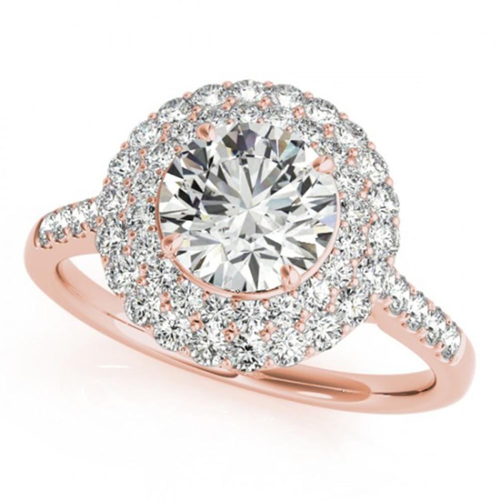1.50 ctw VS/SI Diamond Halo Ring 14K Rose Gold - REF-170K4W - SKU:24301