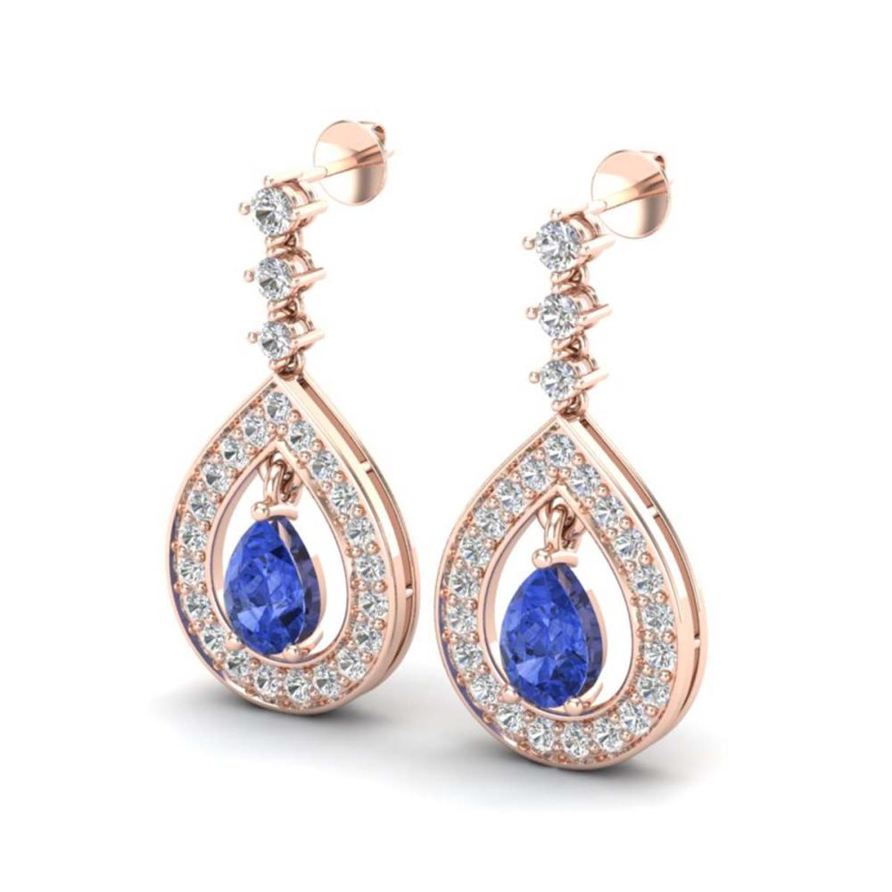2.25 ctw Tanzanite & VS/SI Diamond Earrings 14K Rose Gold - REF-109V3Y - SKU:23158