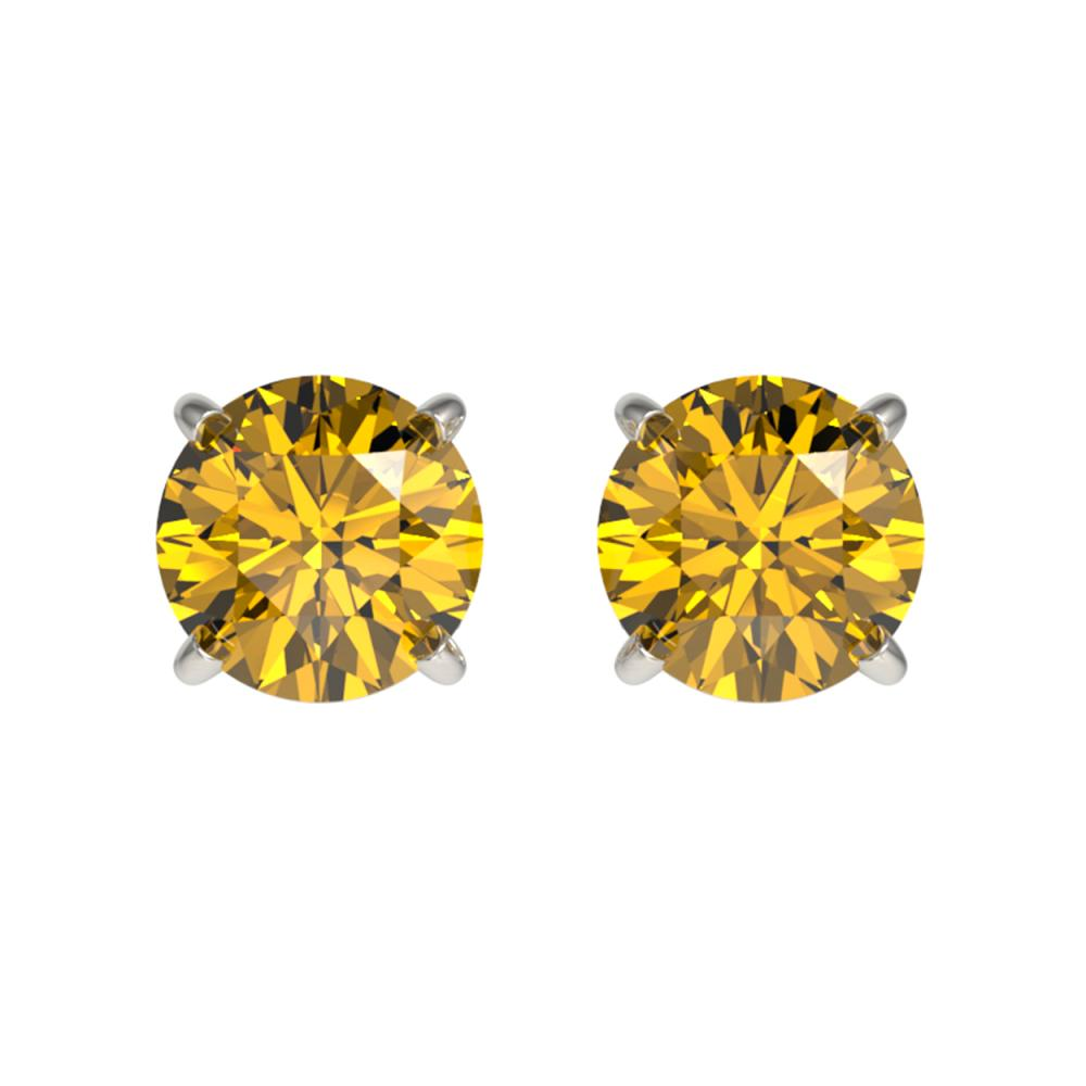 1 ctw Intense Yellow Diamond Stud Earrings 10K White Gold - REF-116A3V - SKU:33057