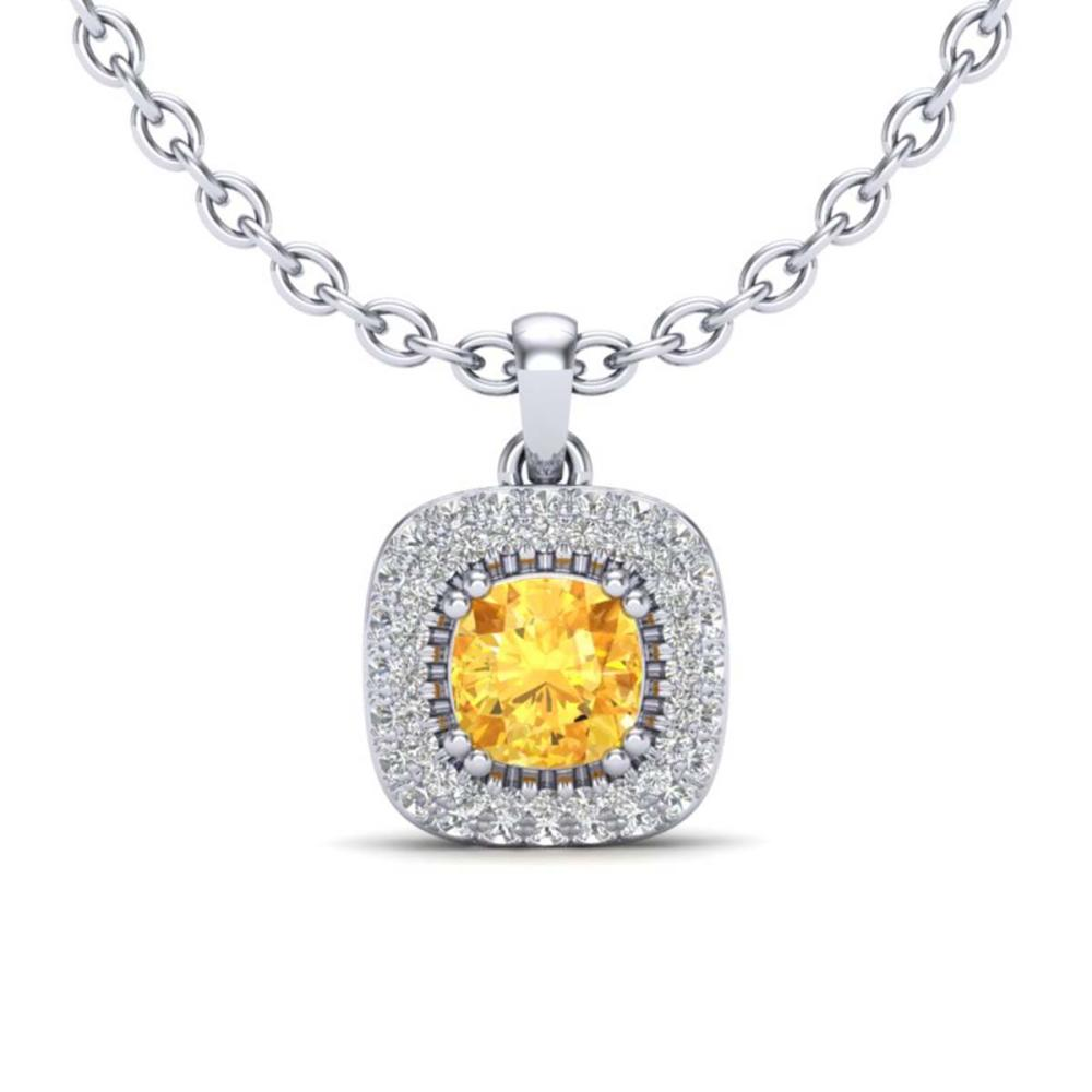 1.08 ctw Citrine & VS/SI Diamond Necklace Halo 18K White Gold - REF-65A5V - SKU:20675
