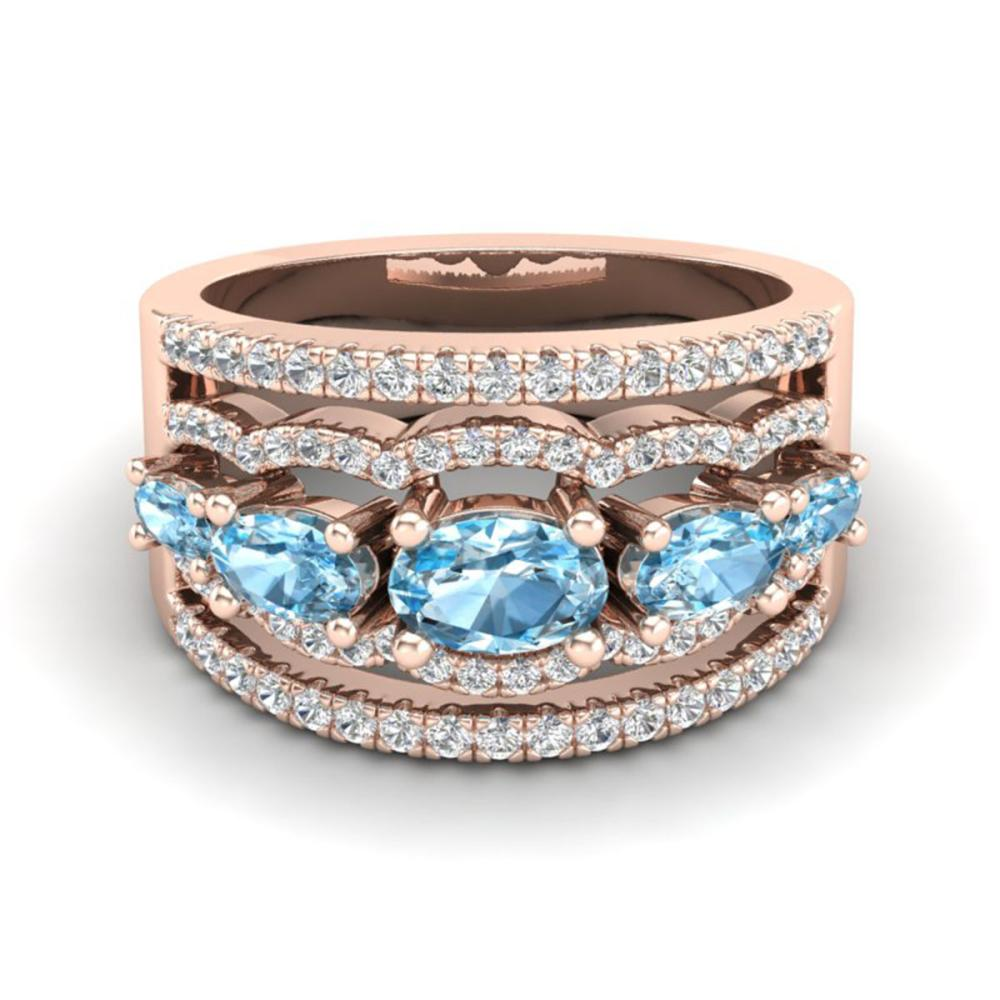 2.25 ctw Sky Blue Topaz & VS/SI Diamond Ring 10K Rose Gold - REF-72V2Y - SKU:20794