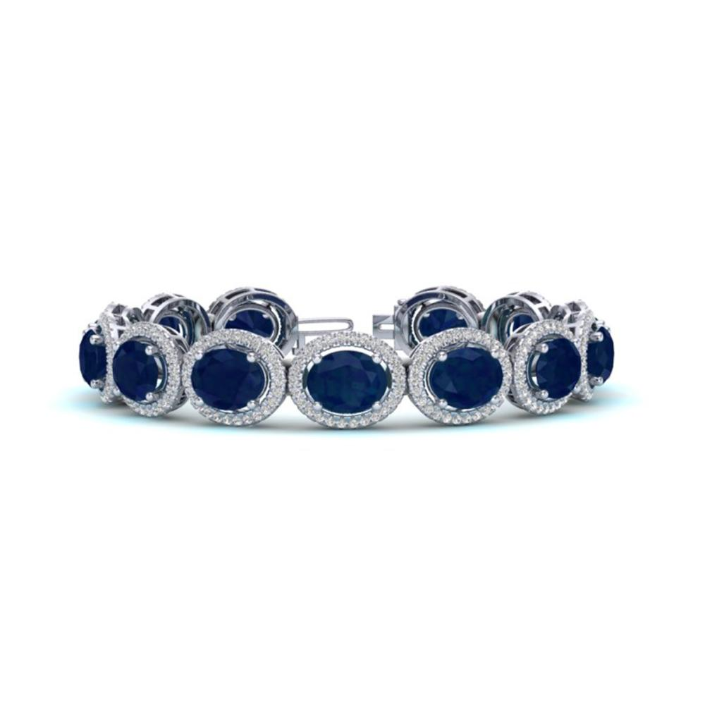 30 ctw Sapphire & VS/SI Diamond Bracelet 10K White Gold - REF-410X9R - SKU:22697
