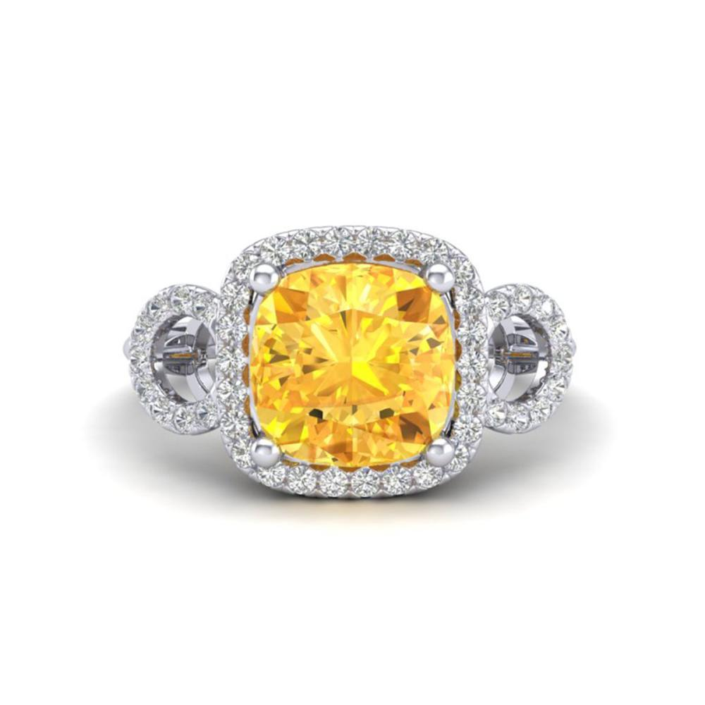 3.75 ctw Citrine & VS/SI Diamond Ring 18K White Gold - REF-65R3K - SKU:22998