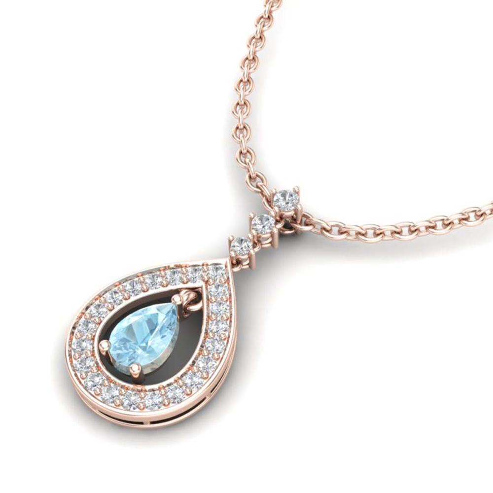 1.15 ctw Aquamarine & VS/SI Diamond Necklace 14K Rose Gold - REF-61A3V - SKU:23161