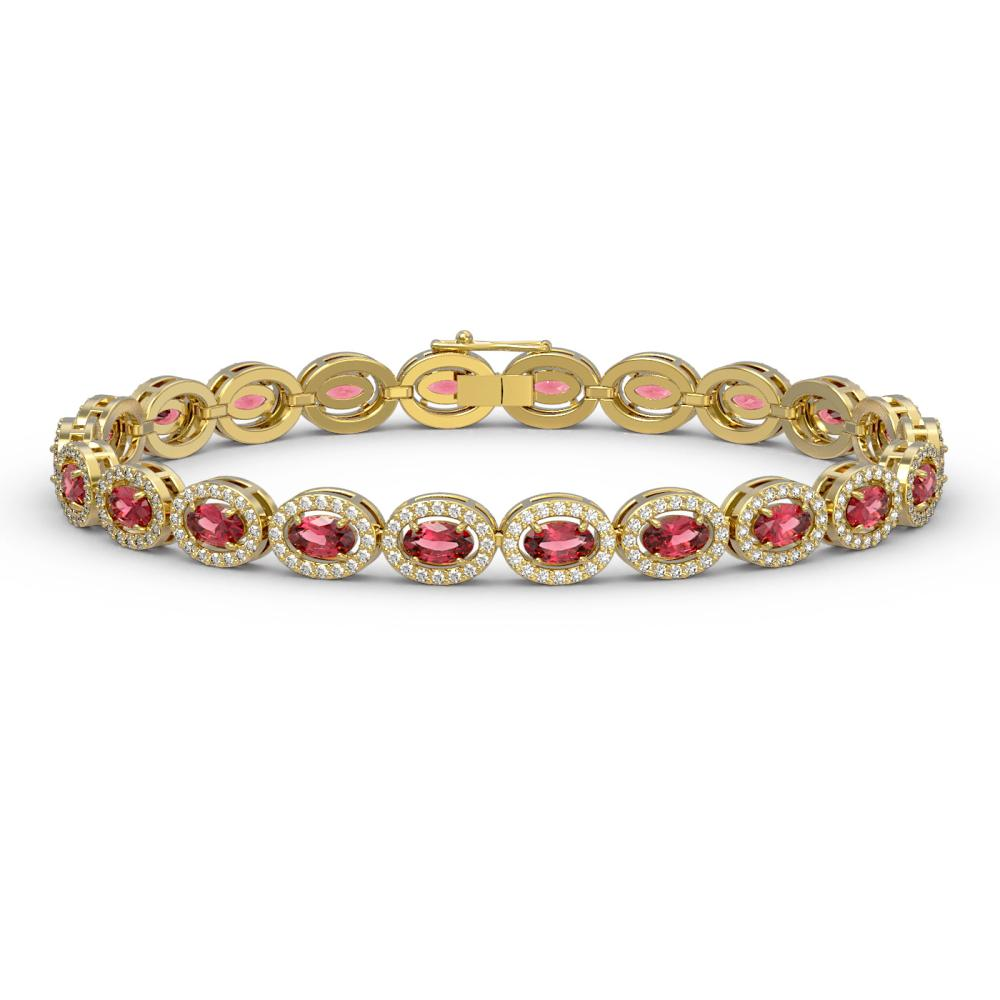 10.54 ctw Tourmaline & Diamond Halo Bracelet 10K Yellow Gold - REF-290R9K - SKU:40369