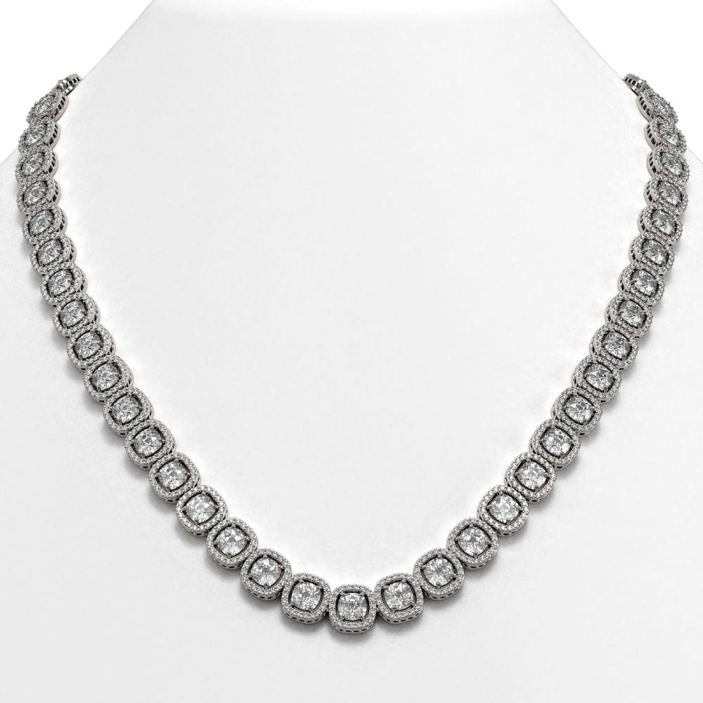 32.64 ctw Cushion Diamond Necklace 18K White Gold - REF-4475N7A - SKU:42623