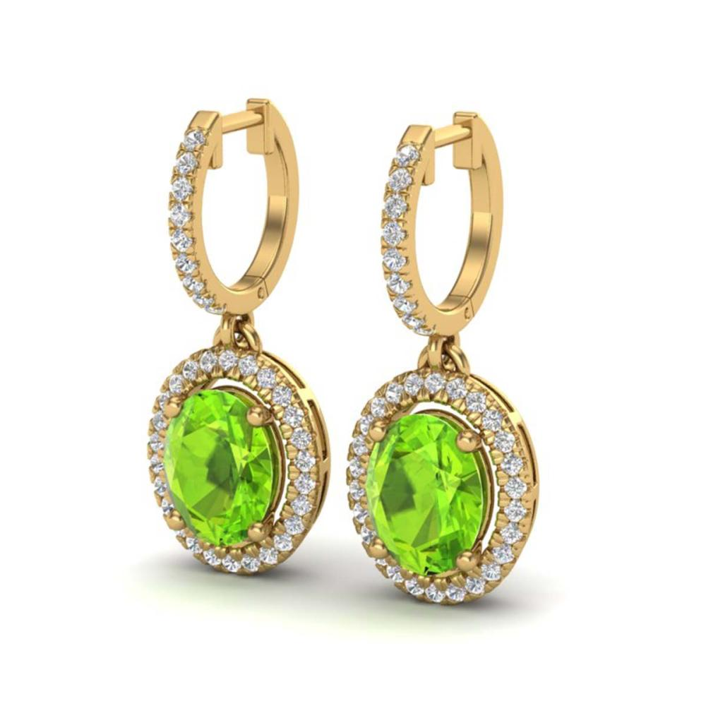 3.75 ctw Peridot & VS/SI Diamond Earrings 18K Yellow Gold - REF-105M5F - SKU:20330