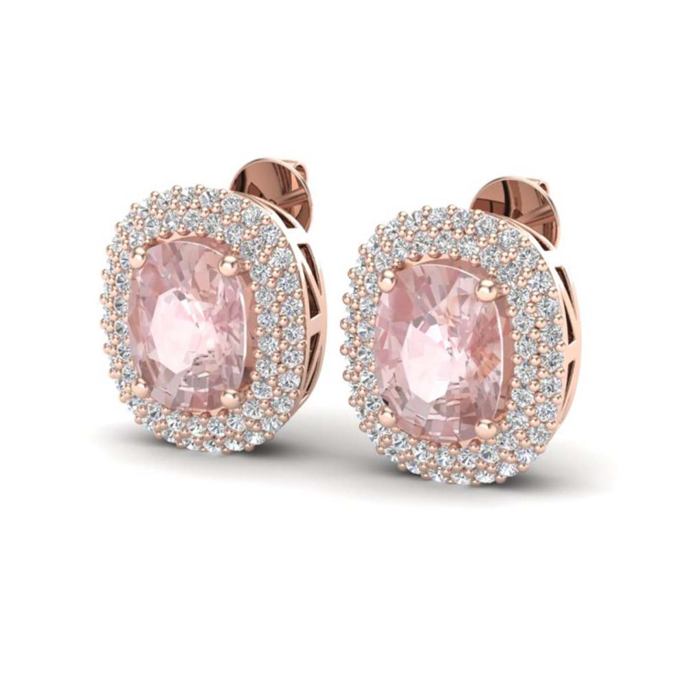 5.50 ctw Morganite & VS/SI Diamond Earrings 14K Rose Gold - REF-147Y8X - SKU:20122