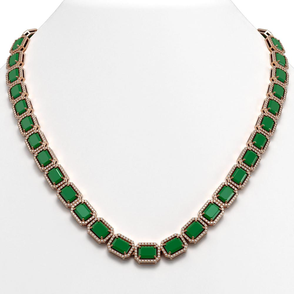 58.59 ctw Emerald & Diamond Halo Necklace 10K Rose Gold - REF-824F4N - SKU:41331